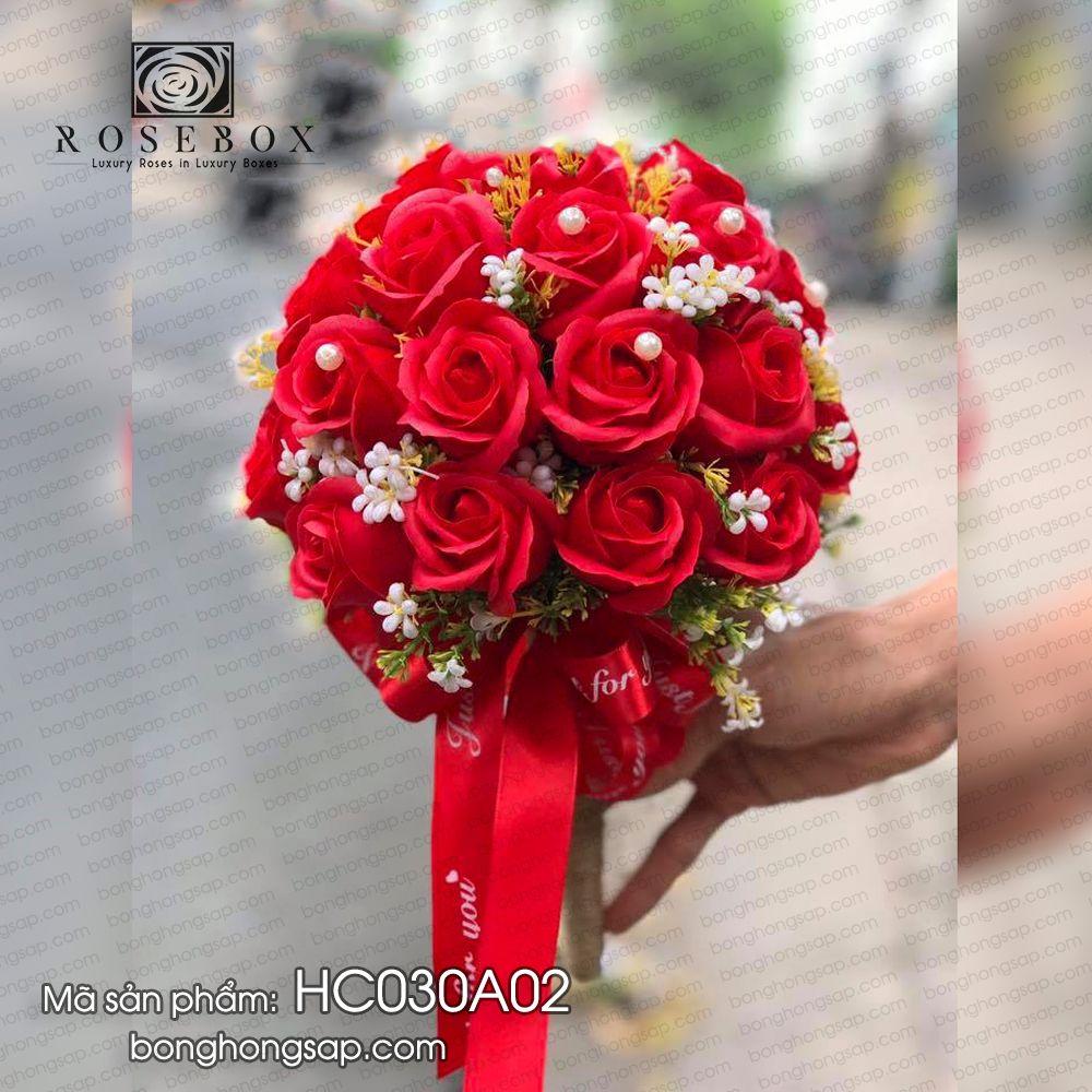 Hoa Hồng Sáp Thơm Bó Cầm Tay Cô Dâu Đỏ Cao Cấp Giá Rẻ